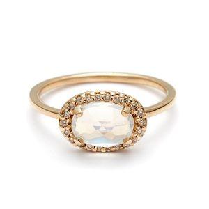 NWOT ANNA SHEFFIELD Pavè Amulet Diamond Ring Sz 5